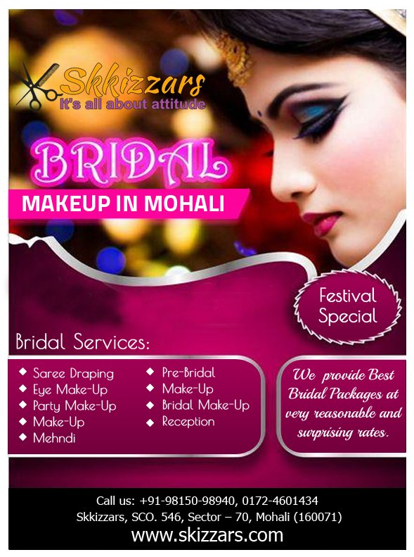 Skizzars Com Beauty Parlour Services At Home On Twitter Best Bridal Makeup Services In Mohali Are Available Now We Are Serving Best Deals For Bridal Makeup Our Address Skkizzars Sco 546 Sector