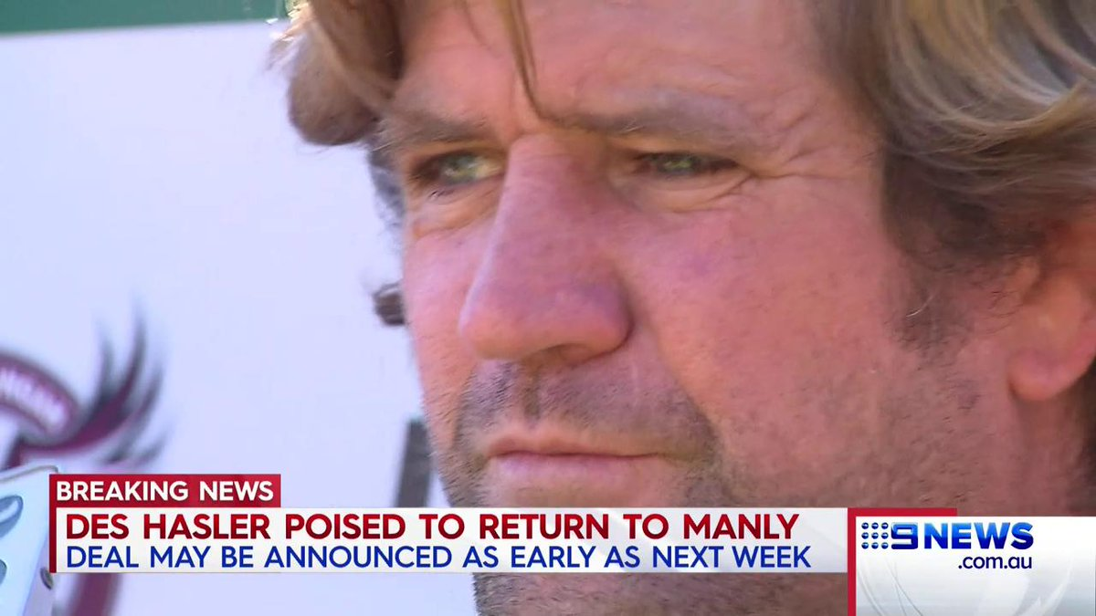 #BREAKING: The Manly Sea Eagles are on the verge of signing Des Hasler as their new coach. @Danny_Weidler #9News