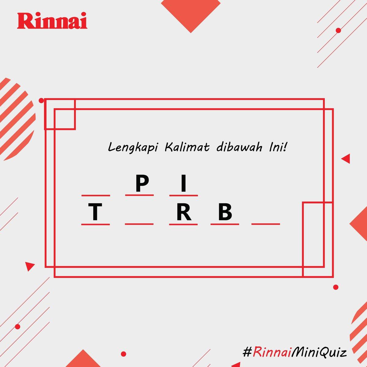 Pastikan kamu sudah follow Instagram, Twitter, dan Facebook Page dari Rinnai Indonesia LIKE postingan ini.  Tulis jawaban kamu dengan format (Nama Asli Lengkap) spasi (Kota) spasi (Jawaban) semenarik mungkin dengan hashtag #RinnaiMiniQuiz dan tag 3 orang temanmu.