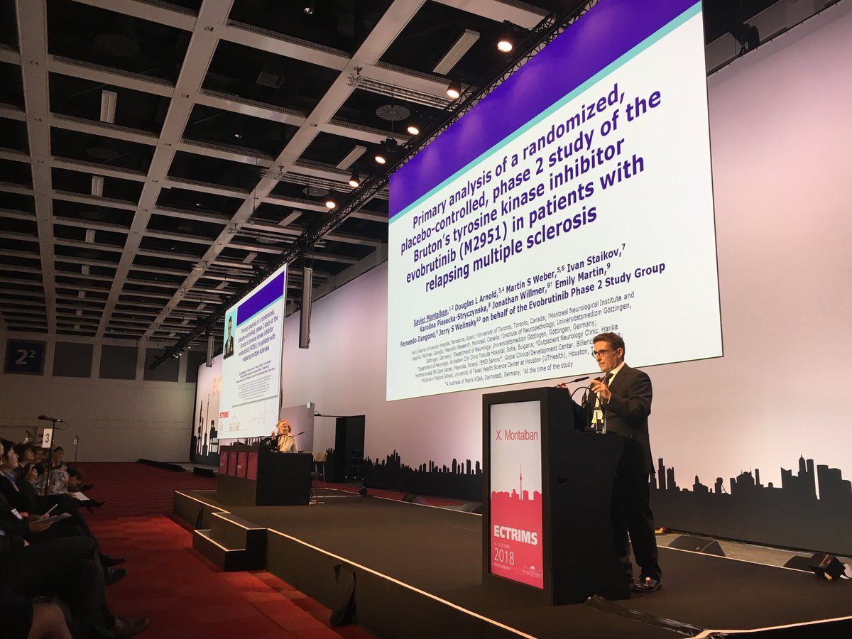 Prof @XMontalban @cemcat_em @vallhebron @StMikesHospital @UofT presents the positive final results of phase II trial on #evobrutinib (significant dose-dependent effect on T1 gadolinium-enhancing lesions) at the late breaking news session #ECTRIMS2018 <br>http://pic.twitter.com/0PWtIO8Man