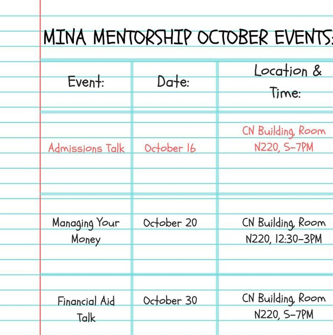 Hello MINA family! We are closing in on the week. We hope your week has been great! Here are some reminders about our upcoming events for the month of October! #gsuinternational #gsu #gsu18 (link: (link:  https://www. instagram.com/p/BozakU_ggEX/ ?utm_source=ig_twitter_share&amp;igshid=1o3ke9kx7u931 &nbsp; … )  http:// instagram.com/p/BozakU_ggEX/  &nbsp;  …)<br>http://pic.twitter.com/DitA9qmkRa