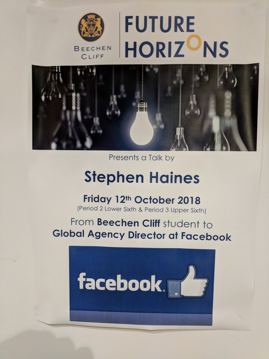 "Stephen Haines, Global Agency Director of @Facebook returns to his old school @BeechenCliff to address a packed audience of @BeechenSixth students on the topic ""Nothing is Impossible""."