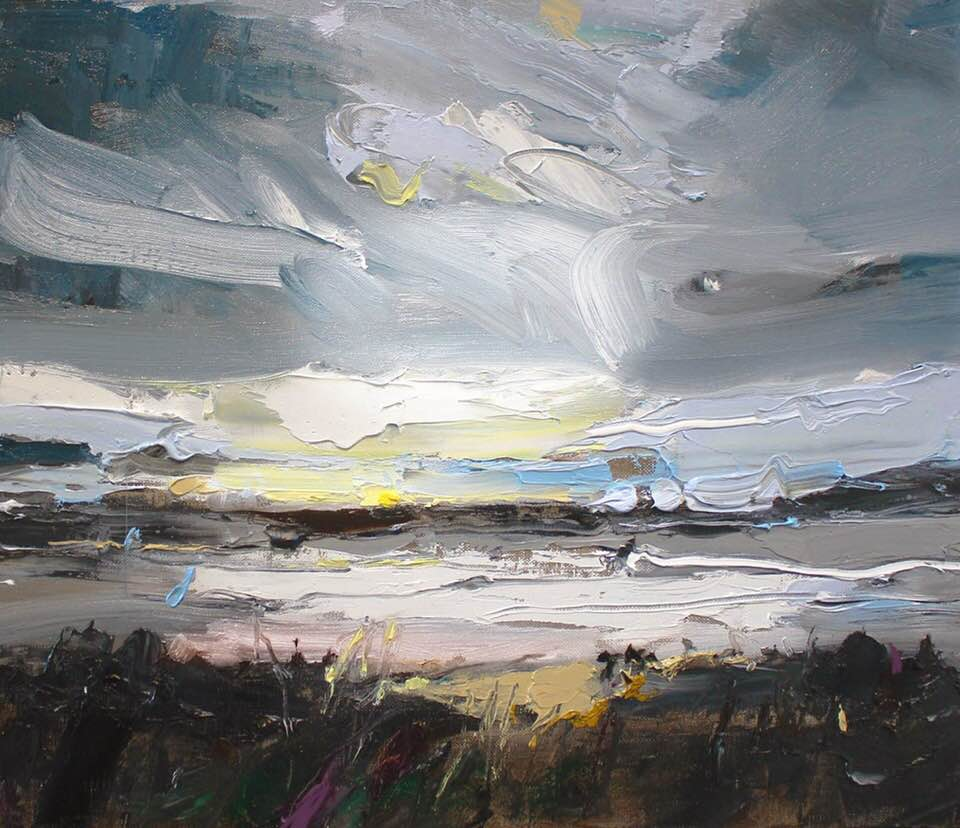 "...and so daybreak turns to evening. ""Moonrise Over Killalea"", 35X45cm, oil on board.  #Killalea #moonrise #australianartist #painting #abstract<br>http://pic.twitter.com/0RhFCHOPQx"