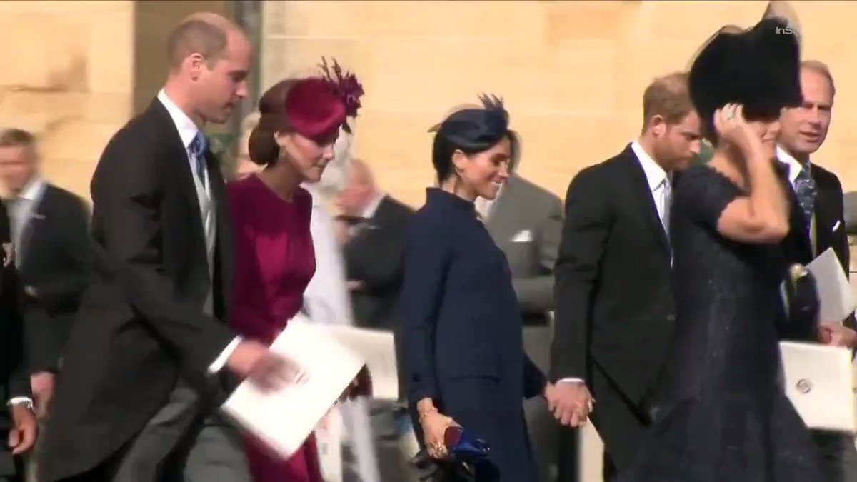 Another #RoyalWedding for the books! #KateMiddleton, #MeghanMarkle, Prince William, and Prince Harry exit St. Georges Chapel together. 💕