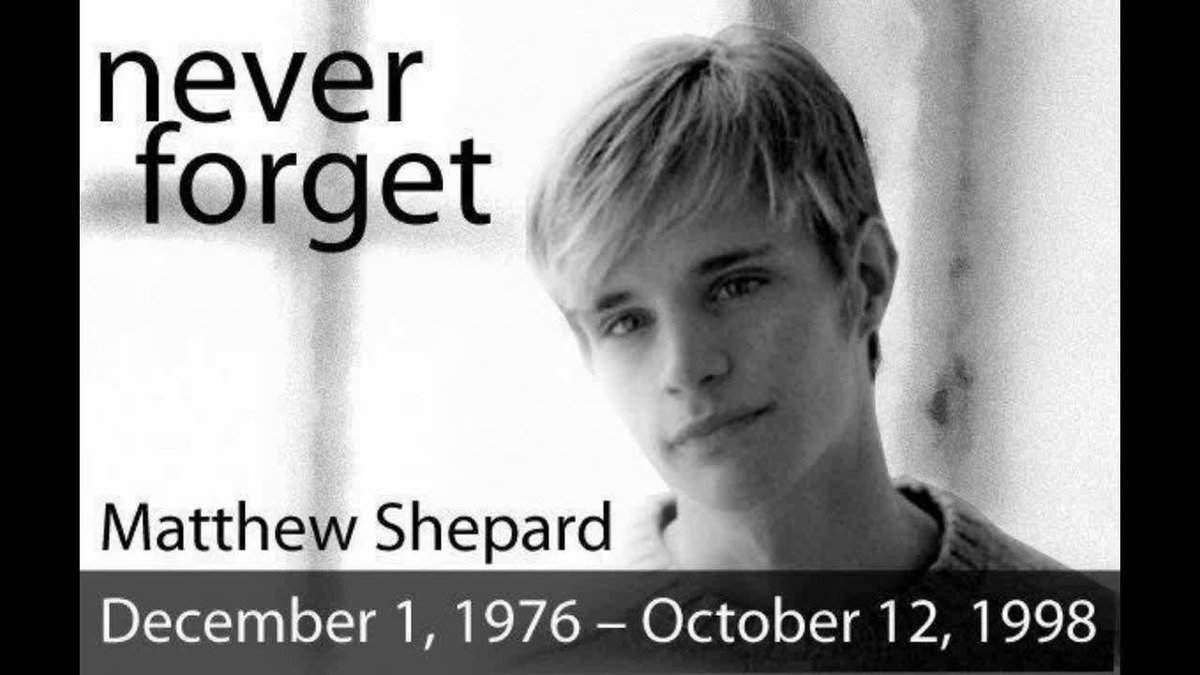 20 years ago today, Matthew Shepard was savagely beaten &amp; left to die, tied to a fence. He passed away, after 6 days on life support., simply for being gay. Today, his ashes will be interred at Washington National Cathedral. He was just 21.. #RememberMatthew @MattShepardFDN<br>http://pic.twitter.com/2iy3Lpyu1f