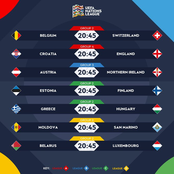 🔷 FRIDAY FIXTURES! 🔶 Who are the strongest team playing tonight? #NationsLeague Foto