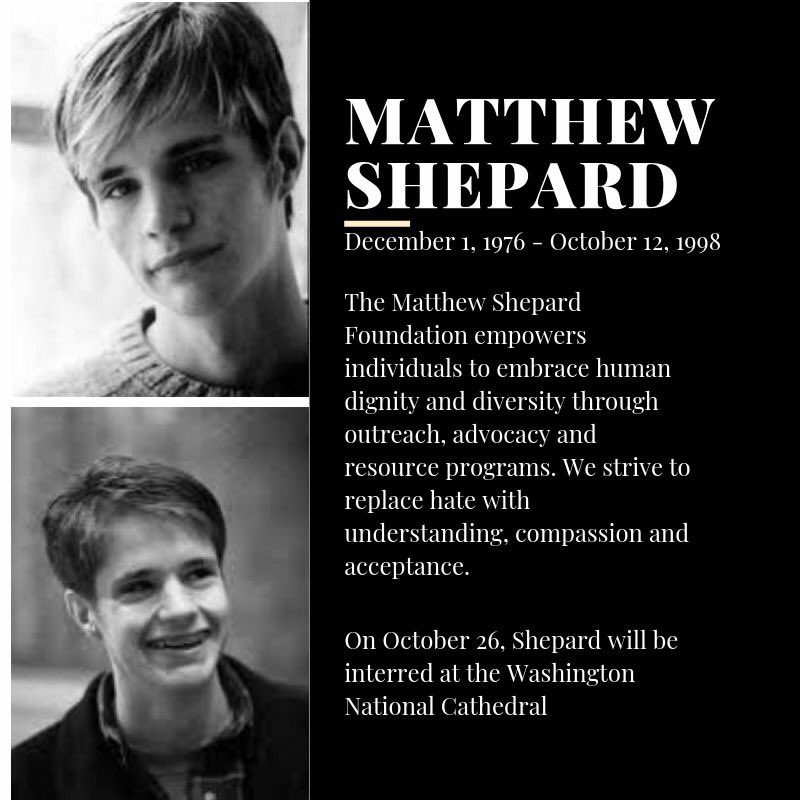20 years later, the family of Matthew Shepard has found the final resting place of their dear son and brother at the Washington National Cathedral.   #remembermatthewshepard #singoutmarchon<br>http://pic.twitter.com/PIb60atyTP