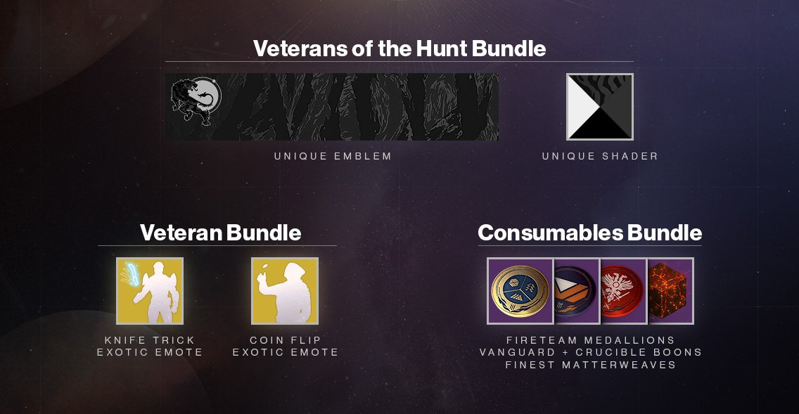 When you purchase Forsaken it will now include the previous Destiny 2 expansions starting on October 16. For our veteran Vanguard, those who already own Forsaken, you will receive the Veterans of the Hunt Bundle for being on the front lines. 💠 bungie.net/en/Explore/Det…