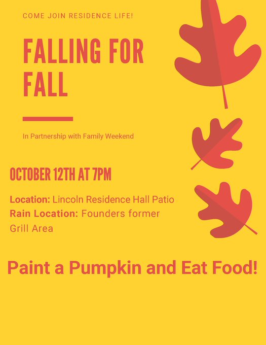 RT @UIS_NSOPR: Tonite!  7–9 p.m. Falling for Fall. FRHl, Food Court, back entrance facing courtyard. Pumpkin painting, hot apple cider, pum…