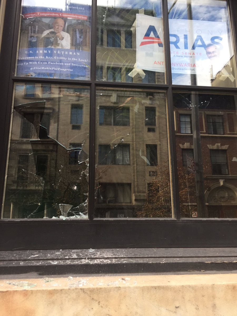 """Last night our NYC hq at the Metropolitan Republican Club was vandalized by anti-Republican forces saying this attack is """"merely the beginning.""""   & all  must condemn this attack & urge civility."""