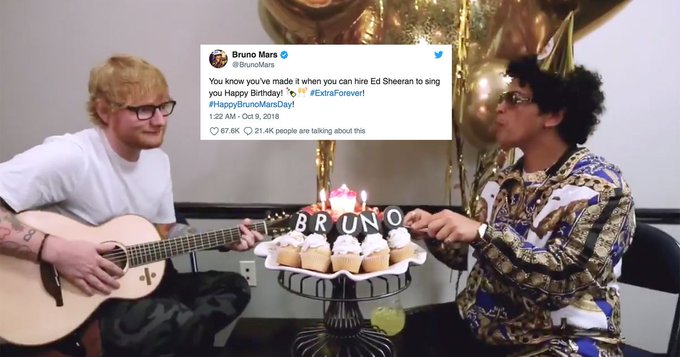Ed Sheeran adds a twist to the happy birthday song for Bruno Mars\ big day