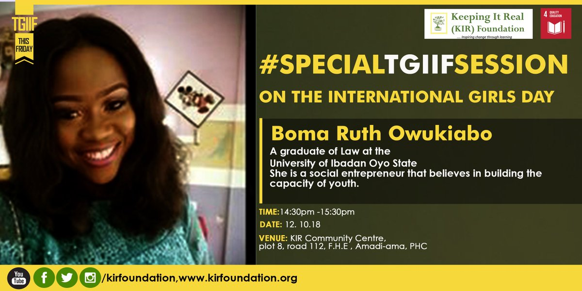 That is why our mentor for the day is Boma Ruth Owukiabo. A social entrepreneur that believes in building the capacity of youth. #FridayFeeling #FridayMotivation #friyay #freakingfriday #BuenViernes <br>http://pic.twitter.com/4sRNd4IDux