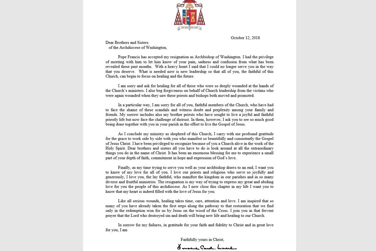 Abc 7 news wjla on twitter just in cardinal donald wuerl asks of the churchs ministers in letter after pope accepts his resignation httpswjlanewslocalpope francis accepts resignation cardinal wuerl expocarfo Images