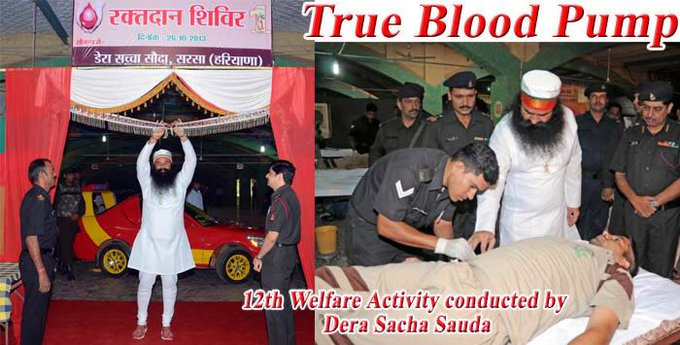 #सच्चा_दान In addition, blood donations are made by volunteers, wherever required, for the police, journalists, patients of thalassemia etc. by member of Dera Sacha Sauda also happens to be the largest blood donor to the Indian Military including Army, Air Force and Navy. Photo
