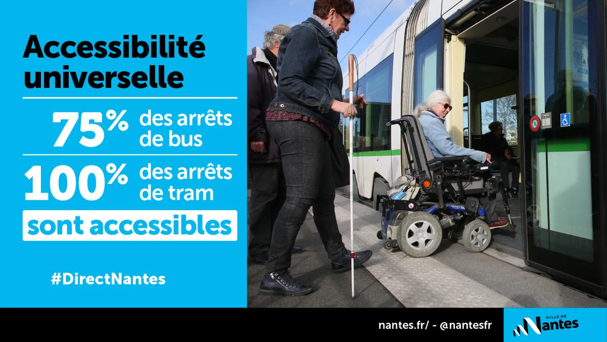 #DirectNantes #Accessibilité A Nantes, 100% des véhicules de la TAN, 75% des arrêts de bus et 100% de arrêts de tram sont accessibles sur le réseau nantais de transports en commun. http://bit.ly/NantesAccessibilit  - FestivalFocus