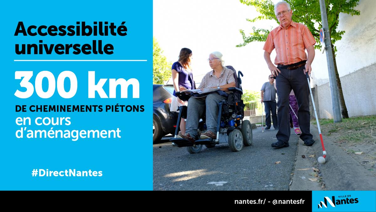 #DirectNantes #Accessibilité Un travail est mené avec le Conseil nantais de l'accessibilité universelle (CNAU) pour réaménager 300 km de cheminements piétons à Nantes. http://bit.ly/NantesAccessibilit  - FestivalFocus