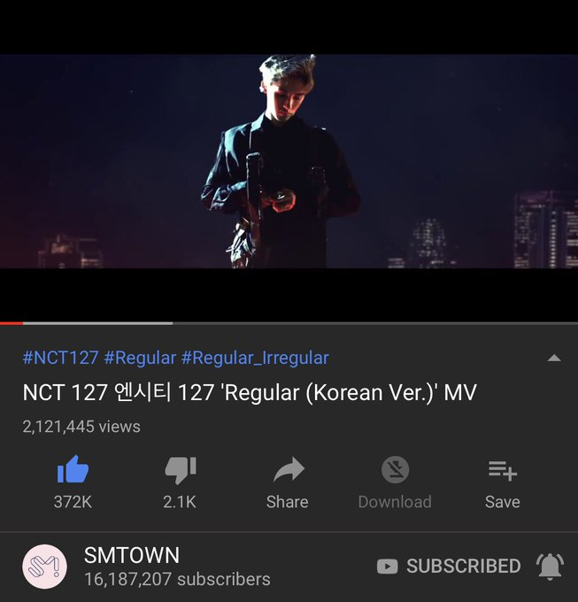 It has been 24 hours since the release of #NCT127_Regular_Kor MV! We have successfully gained 2,121,445 views and 372K likes. Don't stop streaming! We haven't reached our goal yet!! 🔗 @NCTsmtown @NCTsmtown_127 Photo