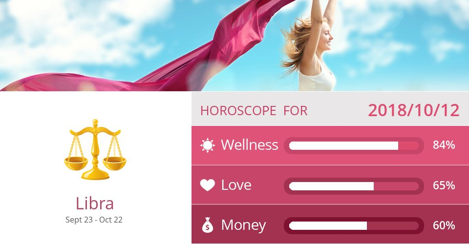Oct 12, 2018: Wellness, Love & Money => See more: https://t.co/Ocm5bWGgP8 Accurate? Like = Yes #Libra #Horoscope https://t.co/IWmKH6qmgd