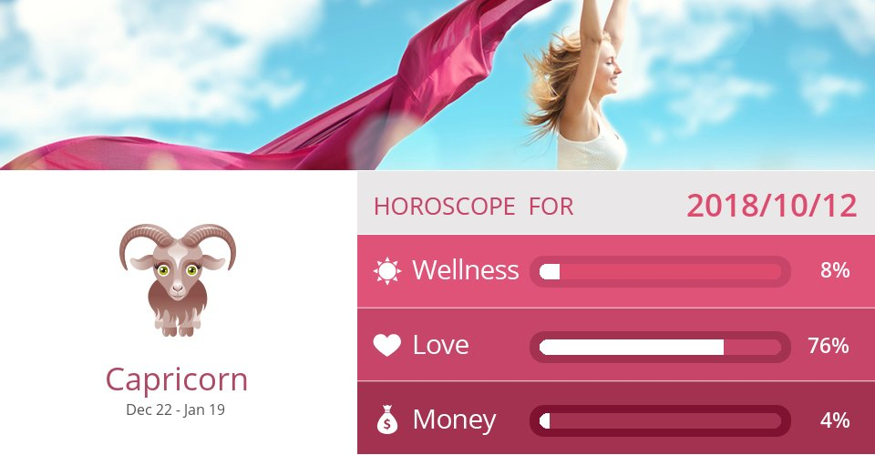Oct 12, 2018: Wellness, Love & Money => See more: https://t.co/CiJVVVS19y Accurate? Like = Yes #Capricorn #Horoscope https://t.co/MzwtPeidfj