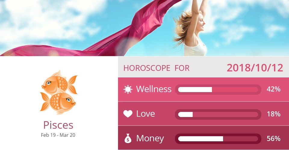 Oct 12, 2018: Wellness, Love & Money => See more: https://t.co/VHTKJjahAM Accurate? Like = Yes #Pisces #Horoscope https://t.co/8Ti72SWq47
