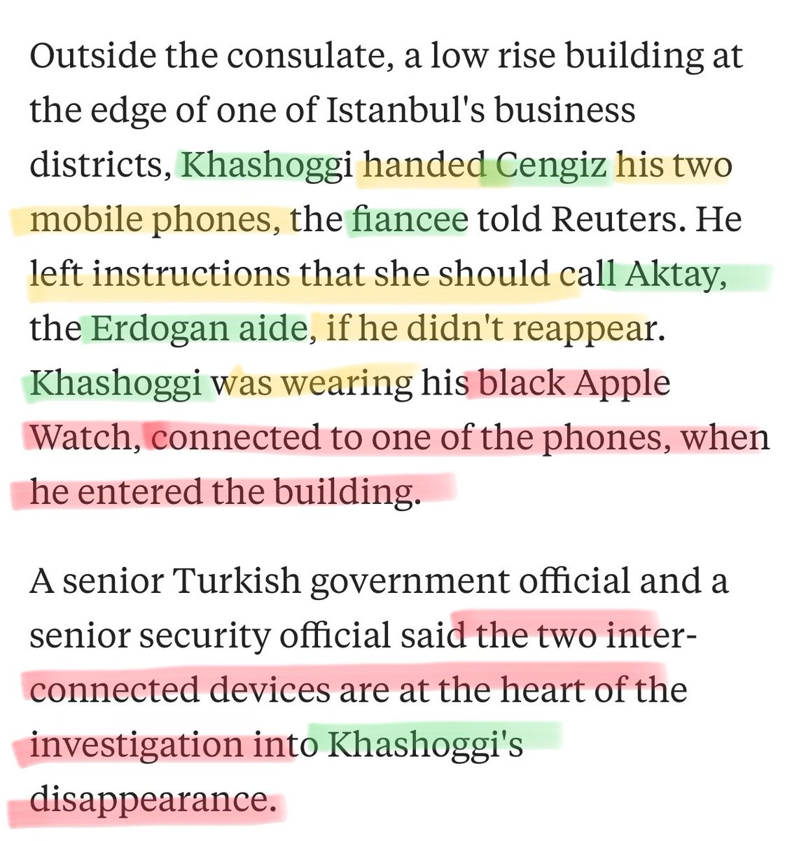 Khashoggi gave his fiancée his 2 mobile phones and told her to call Aktay, an aide to Erdogan, if he didn't reappear. He knew that he could always make a call from his Apple Watch. It may be that he started to be concerned and started to record... <br>http://pic.twitter.com/JpOGTC7rLO