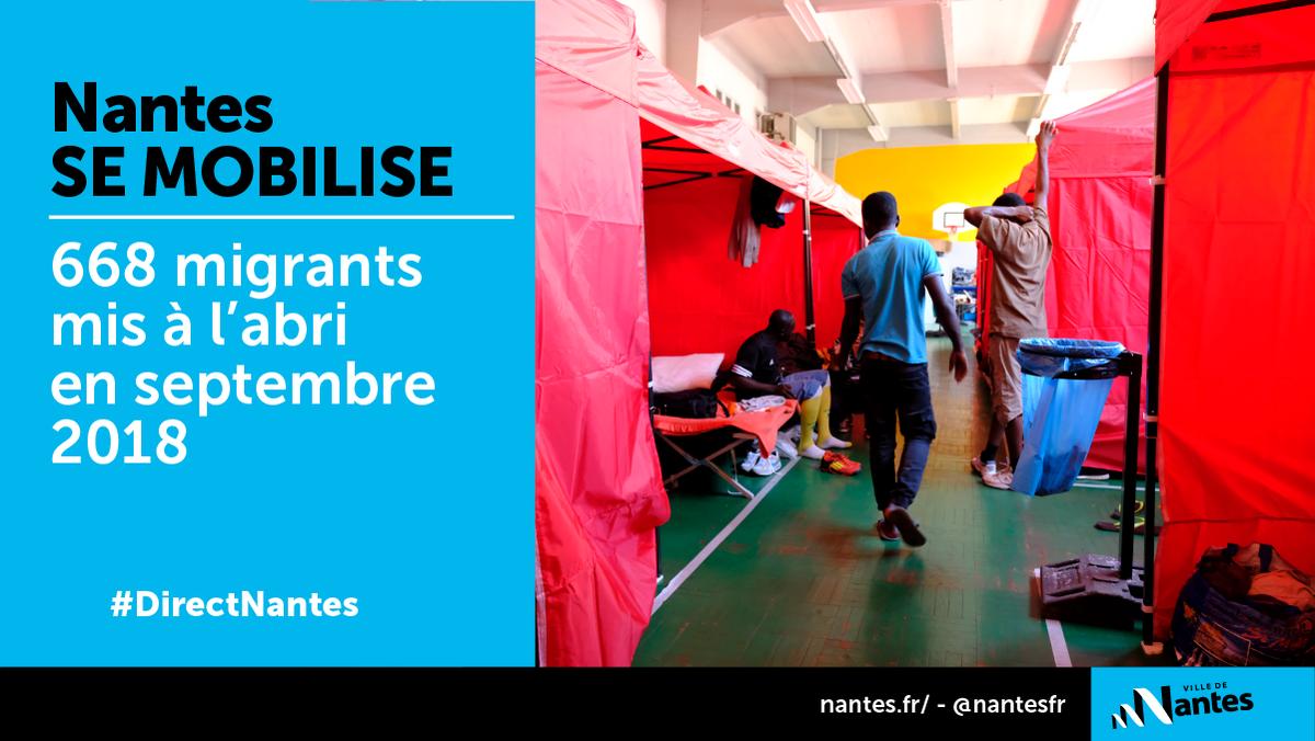#DirectNantes #Migrants Le conseil municipal a voté 2,8M€ pour accompagner le dispositif de mise à l'abri des 668 migrants installés square Daviais. S\