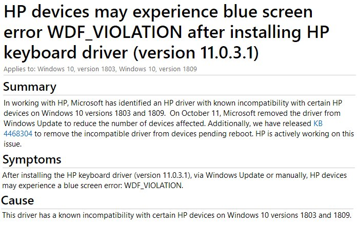 hp keyboard driver windows 10 bsod