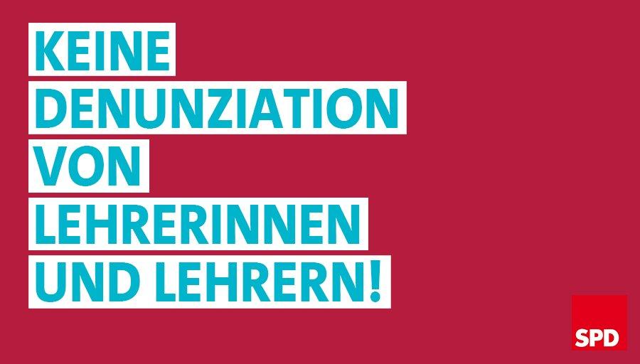 Die AfD schaltet Portale zur Denunziation von Lehrkräften - aus Angst vor Lehrerinnen und Lehrern, die SchülerInnen zu aktiven DemokratInnen machen. Mit den Gewerkschaften stehen wir an der Seite aller Lehrkräfte, die für Demokratie, Rechtsstaat und unsere Grundrechte eintreten!
