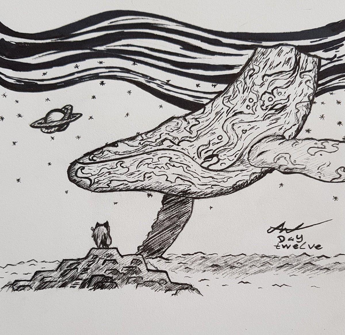 Shrubbyjupiter on Twitter: Cosmic whale #art #inktober #Inktober2018…