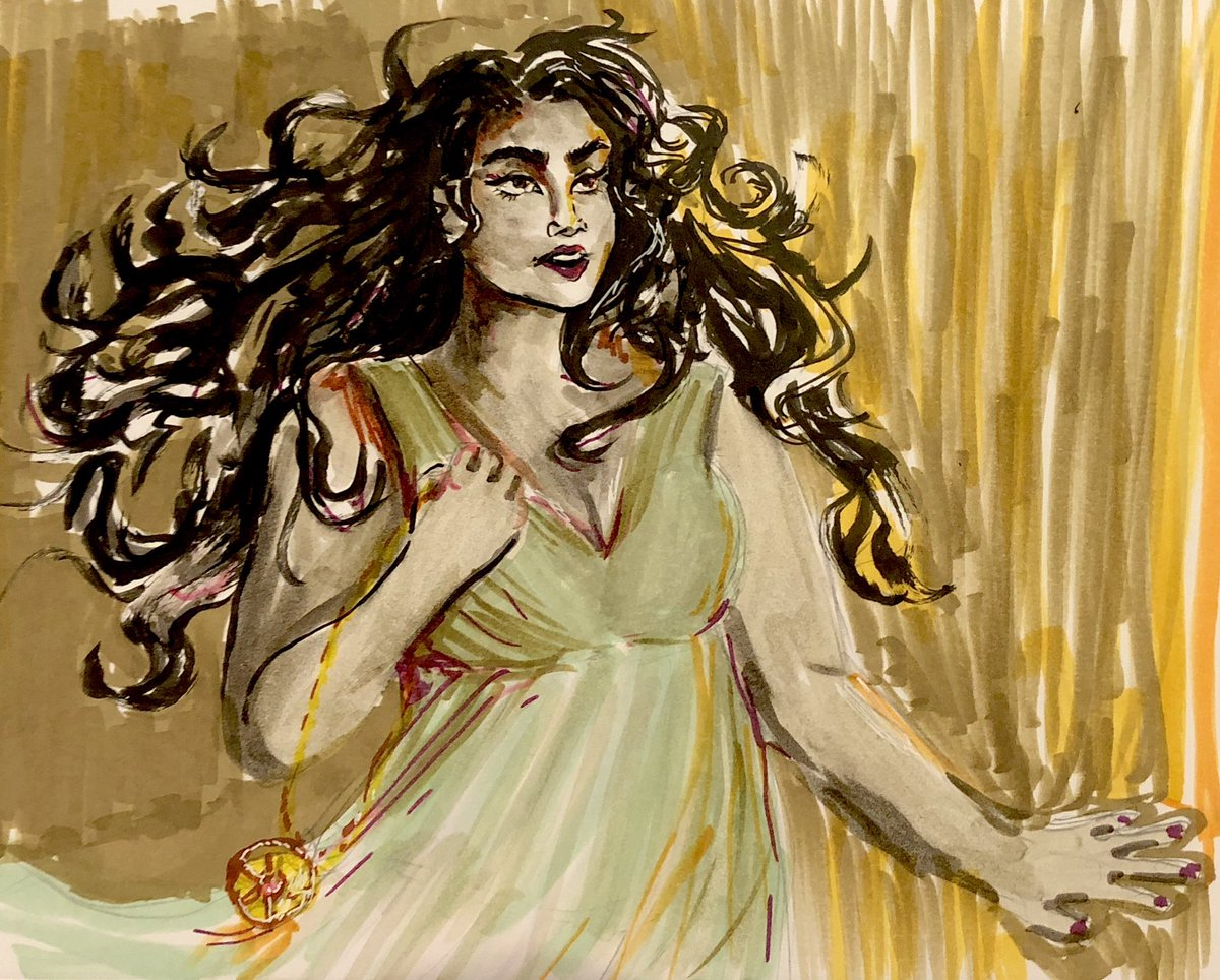 Stephanie Gibadlo on Twitter: #inktober day 10: flowing. I love drawing flowing hair and I decided to experiment with a more muted color palette. ^_^  #inktoberday10 #ink #inktober2018 #flowing #illustration #art #artistsontwitter…