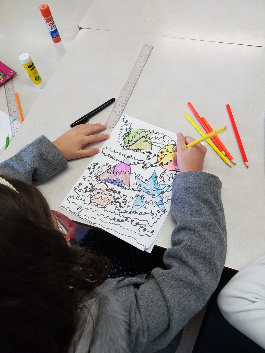 Katherine Reilley on Twitter: We are working with lines, shape and monochromatic colours today! @StMartinOCSB @OttCatholicSB #art #artists #mathandart #ArtShare…