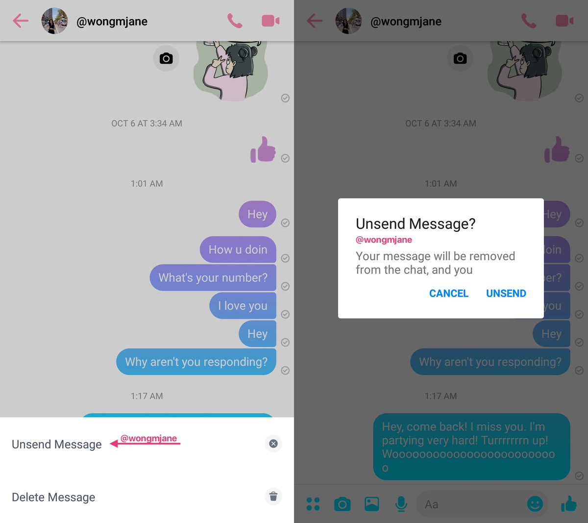 like WhatsApp soon you'll able tp unsend message on facebook messenger