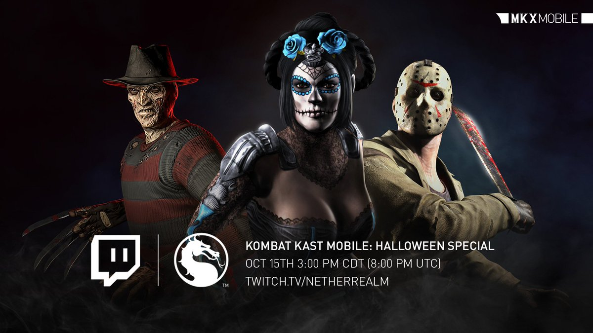 Be afraid, the most epic #MKXMobile Halloween update is almost here. Tune on October 15th at 3:00 PM CDT (8:00 PM UTC) on the NetherRealm Twitch Channel for a sneak peek!