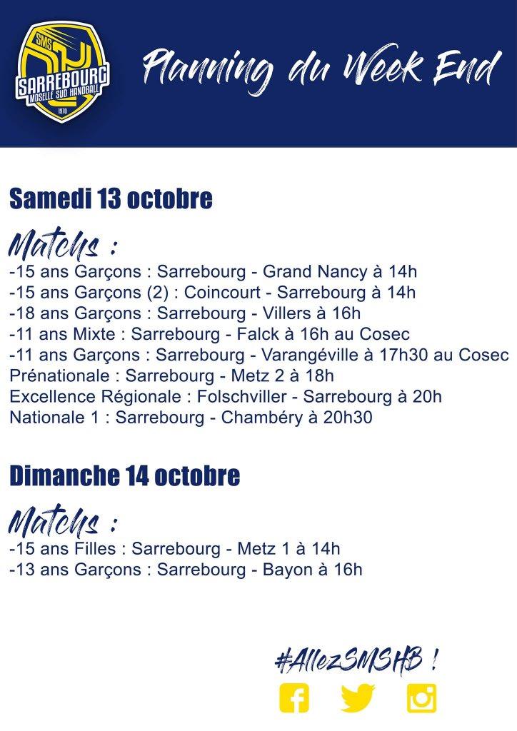 #Programme Voici le programme des #TeamsSMSHB pour le week-end du 13 et 14 octobre #AllezSMSHB #OnCompteSurVous   https:// www.facebook.com/1375969295973916/posts/2182936755277162/  - FestivalFocus