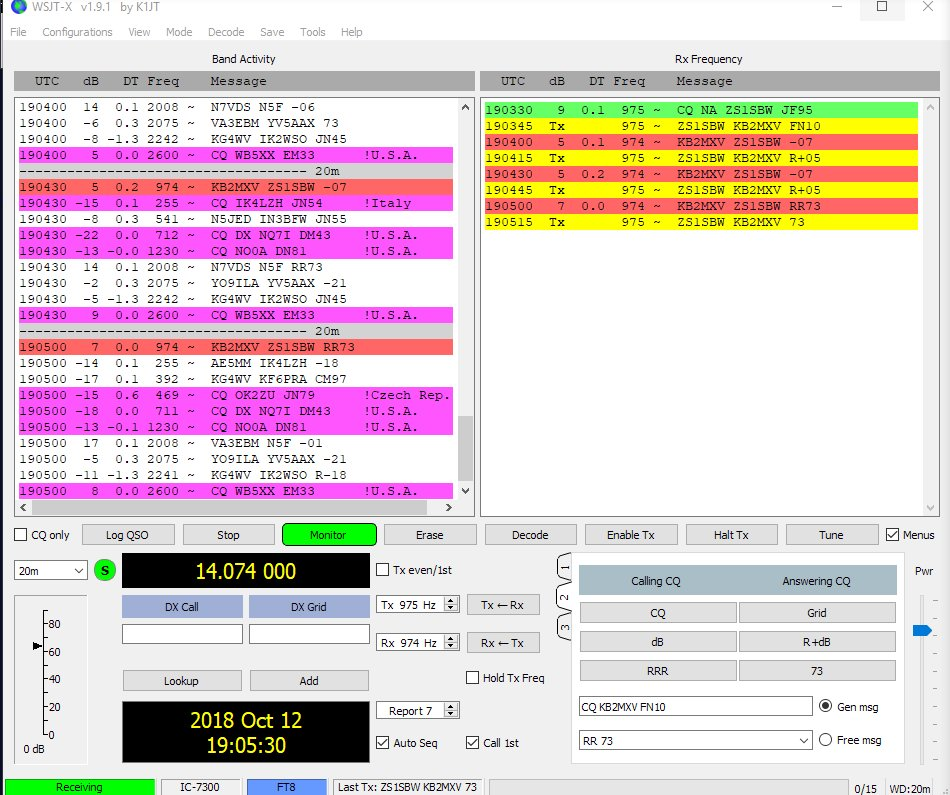 I just worked @ZS1SBW from South Africa on 20M 14 074975MHz