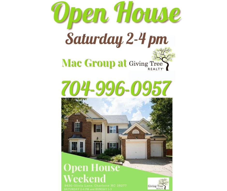 test Twitter Media - Open House this Saturday!! #charlottehomes #charlottenc #nchomes #charlotterealestate #themacgroup #givingtreerealty https://t.co/aEmTMIWJ4B