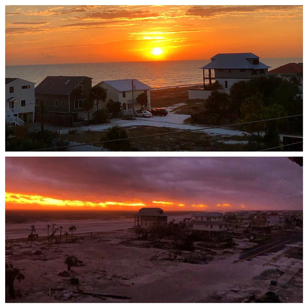 @spann the picture shows the devastation of #hurricanemicheal on #MexicoBeachFl. Bottom picture is from @Ginger_Zee. She was broadcasting from the condo where I live. I live(d) on the 4th floor. The top picture was taken by me from my balcony, earlier this year. Pray for us.<br>http://pic.twitter.com/yczS9a3ub0