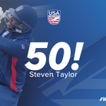 A first 50 for any #TeamUSA🇺🇸 batsman in the 2018-19 #Super50 and it's Steven Taylor who gets it, he's been in sublime touch so far today and he's still going strong...💪🏏  USA 98 for 1 ➡️LIVE SCORES➡️: https://t.co/PMQm0FCKa1