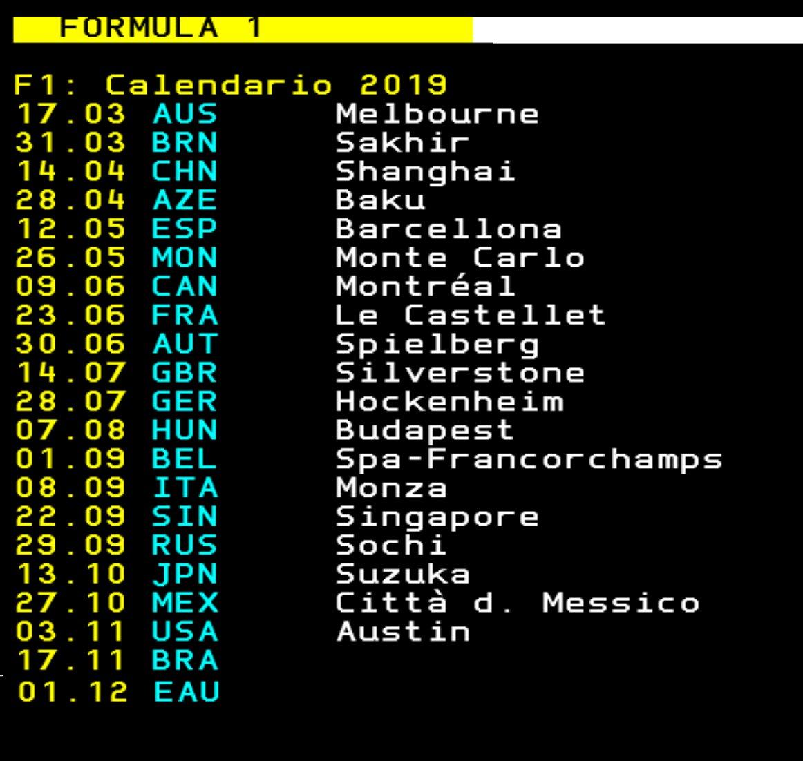 """❌ Av. Özgür Ozan 🏆🥇 auf Twitter: """"Formula 1'de 2019 takvimi açıklandı.  Dünyanın internetten sonraki en önemli 2. buluşundan da destek alarak  listeyi toplu olarak paylaşıyorum. #Formula1 #F1 #2019 #Takvim #Calendar…  https://t.co/cX6QLKq72Q"""""""