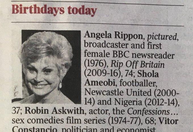 Many happy returns to Angela Rippon who celebrated her birthday today