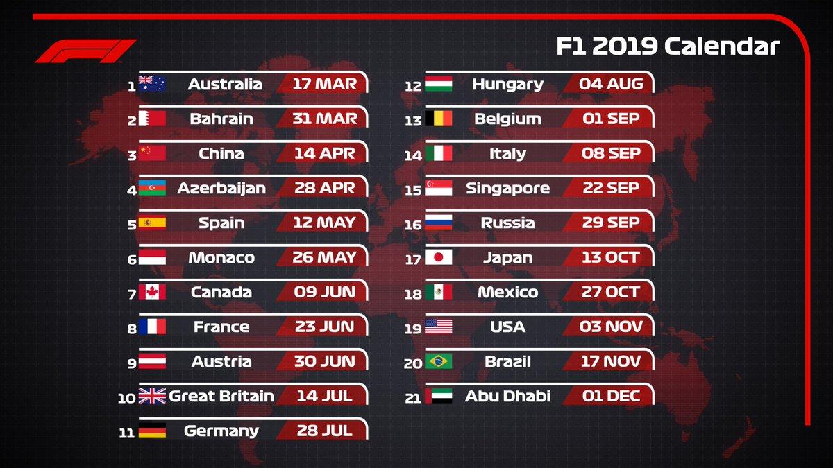 F1 2019 Calendar Formula 1 on Twitter: