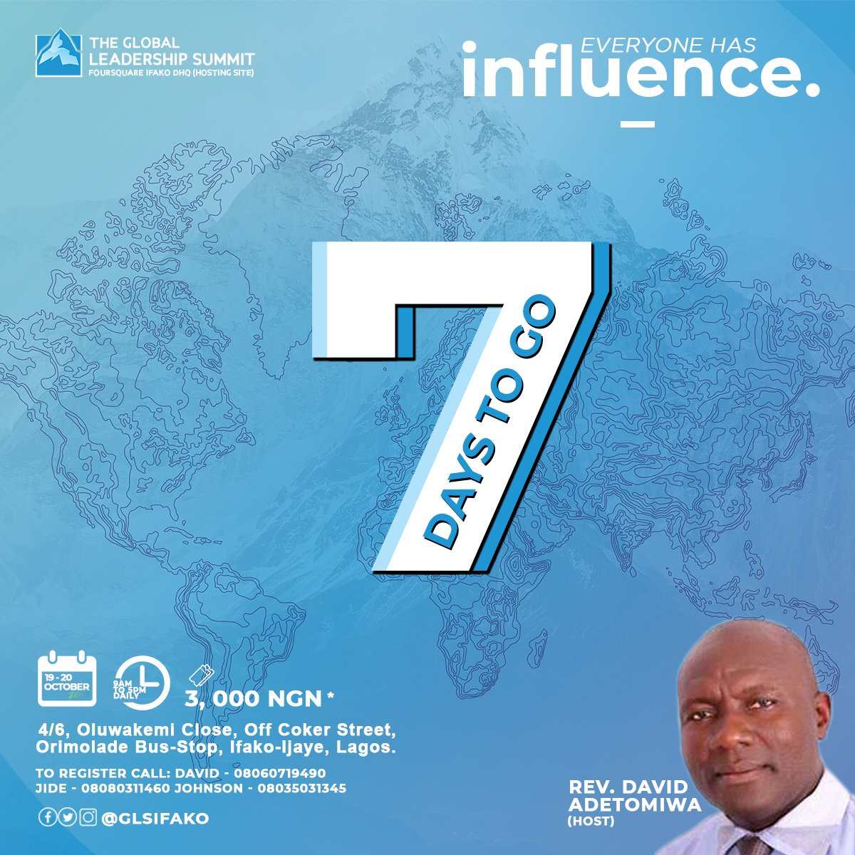 It is 7 days to go #GLS18 #EveryoneHasInfluence  #GLS #GLSIFAKO #GLSNIG @wcagls @gls_nigeria<br>http://pic.twitter.com/ioszHMOgyr