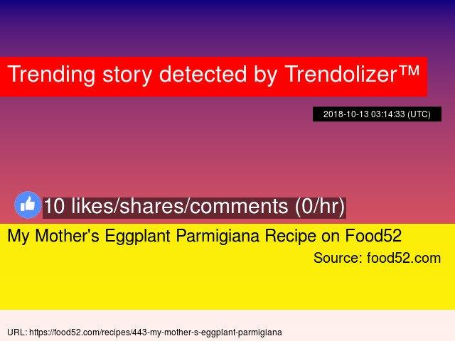 My Mother's Eggplant Parmigiana Recipe on Food52 https://t.co/iZMotgvT40 https://t.co/sqDGvQlxbf