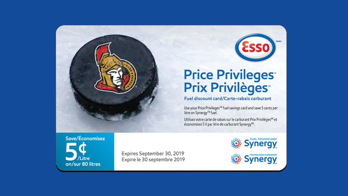 Esso and the #Sens are teaming up to provide fans with a Price Privilege Card on the way in from today's matinee game against the Los Angeles Kings! Don't forget to pick one up! Photo