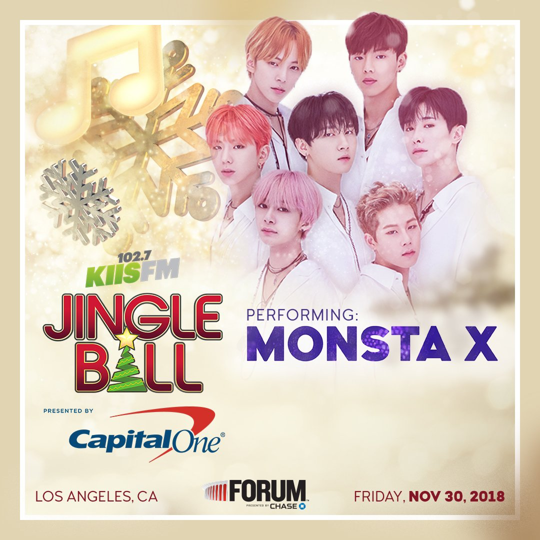 .@OfficialMonstaX will make history as the FIRST #KPOP group to ever perform at @1027KIISFM's #KIISJingleBall in #LosAngeles! Who's coming?  @CapitalOne Cardholders can buy tickets now! https://t.co/gGXT3mbEeS #MonstaX #MonBebe #Monsta_X