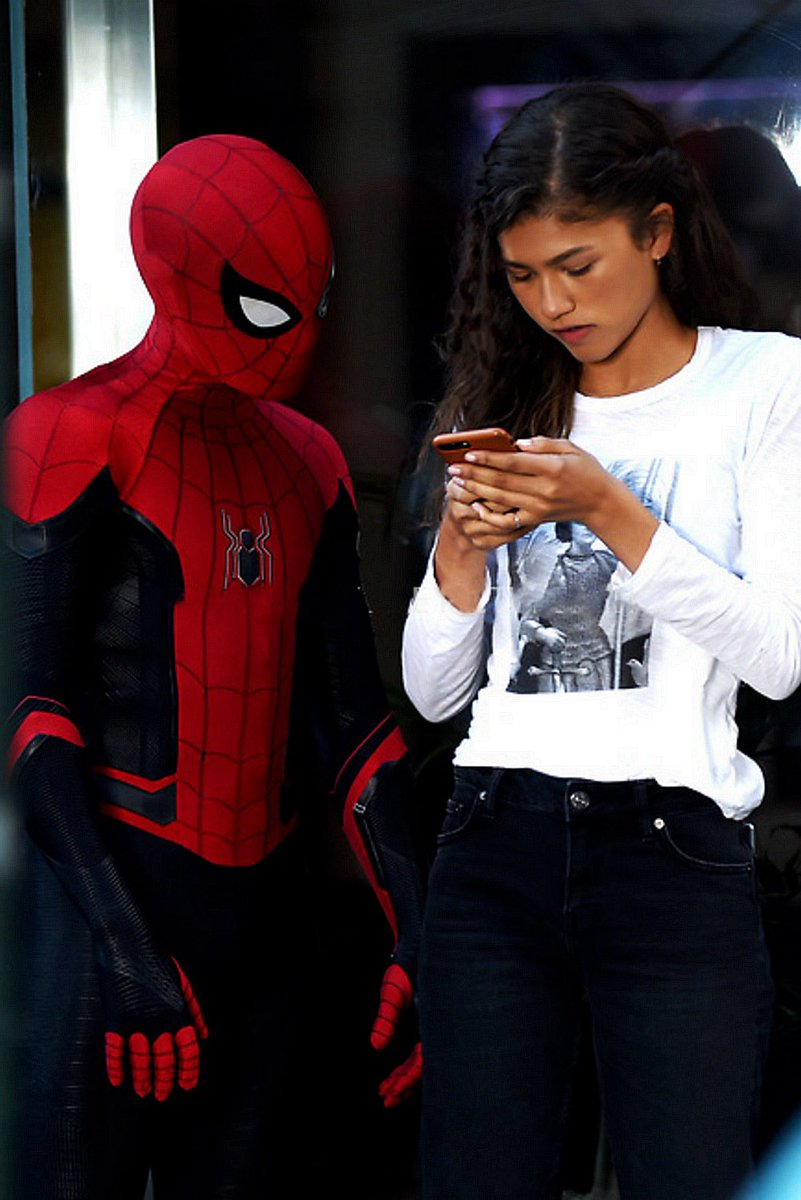 Tom Holland and Zendaya seen on set filming 'Spider-Man: Far From Home'.