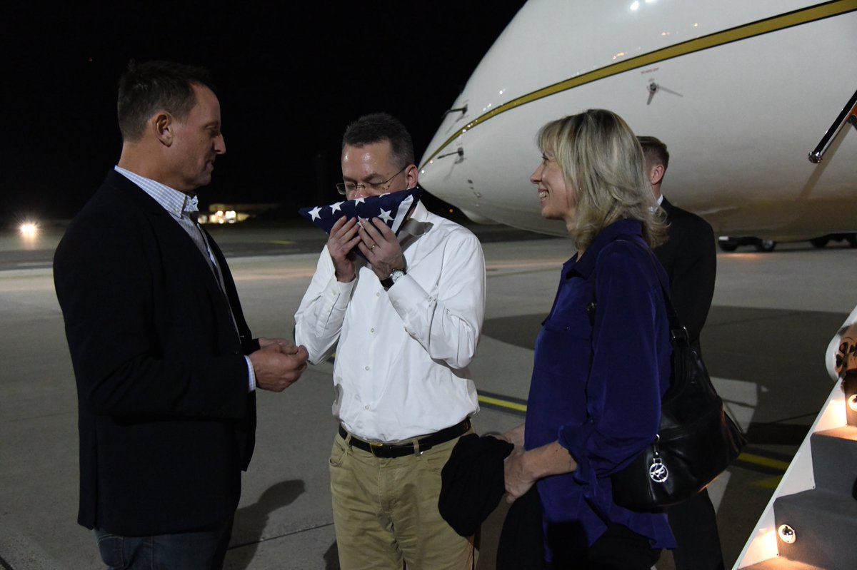 I welcomed Pastor Brunson & his wife to Germany on their refueling stop. He's almost home thanks to @realDonaldTrump. When I presented him with the US flag, he immediately kissed it. #agratefulnation