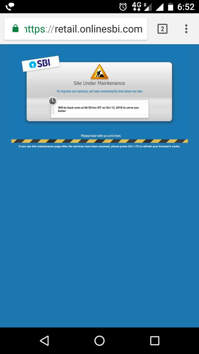 State Bank Of India On Twitter Maintenance Activity Is Utmost