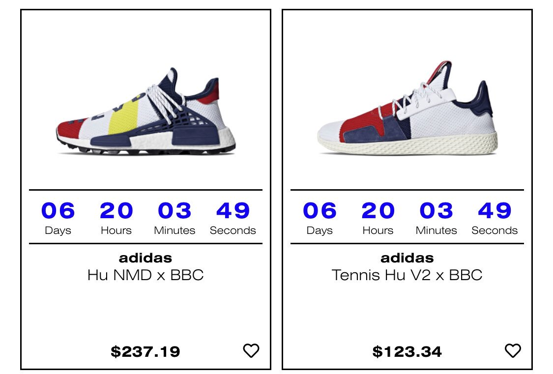 new styles 867ba d713c Pharrell x adidas HU BBC Pack countdown via Holypop.  more than likely to  change to raffle  NMD HU https   bit.ly 2OXXKLa Tennis HU V2 ...