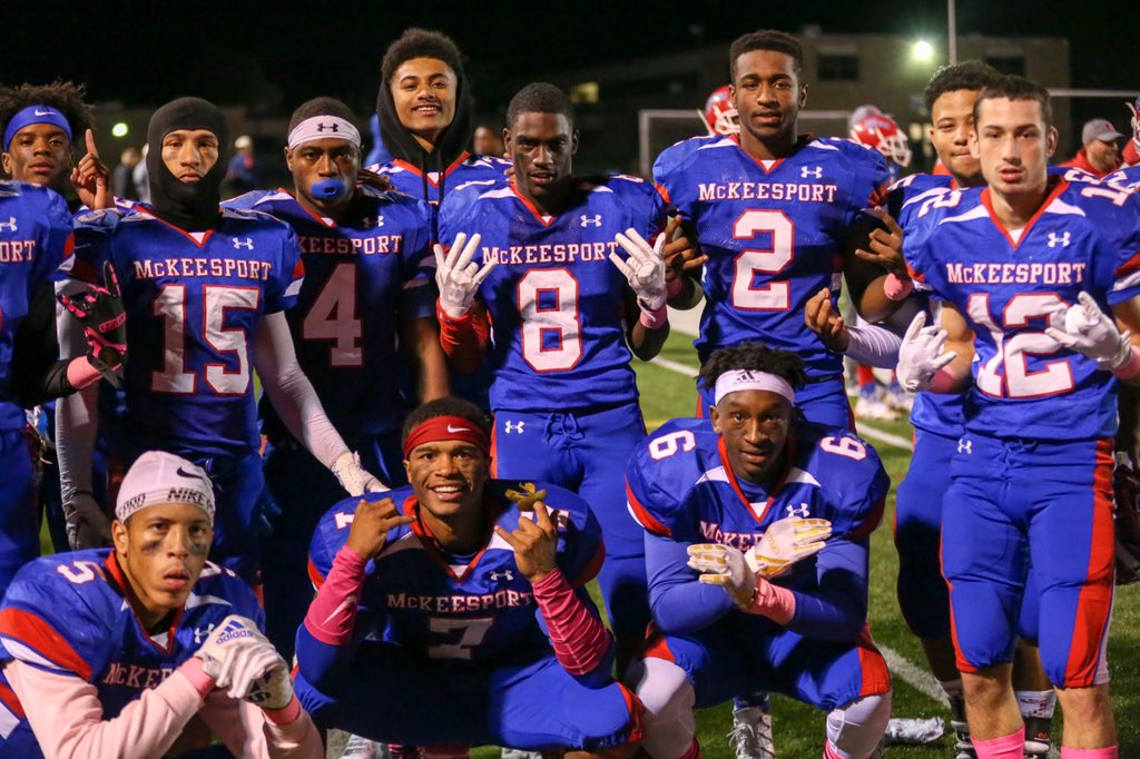 members of the McKeesport Tigers football team strike a pose after defeating the Kiski Area Cavaliers <br>http://pic.twitter.com/2EJI4jQiNn